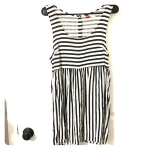 Striped dress with button up back
